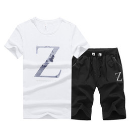 876bbcf4a7e Large Size T-shirt Sports Suit Short Sleeve Man Summer Korean Z letter  Printed O-Neck T-shirt With Short Pants Homme Sportsuit