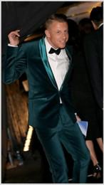 ba65adf633b Hot Sale Dark Green Groomsmen Shawl Lapel One Button (Jacket+Pants+Tie)  Groom Tuxedos Groomsmen Best Man Suit Mens Wedding Suits Bridegroom