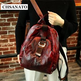 $enCountryForm.capitalKeyWord Canada - CHSANATO Retro Unique Designer Anti Theft Backpack Women Genuine Leather Back Pack Lady Real Leather Backpacks Girls Shoolbag