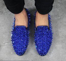 e00d76d9da38 Runway Fashion Top Quality Red Sole Men Shoes Blue Sequin Spikes Men  Loafers Rivets Casual Dress Shoes Men Flats Suede