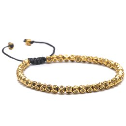 Discount handmade beaded bracelets - Handmade Braided Simple Retro Beads Bracelet For Men Women Multi Faceted Tibetan Silver Beaded Bracelet Friendship DIY J