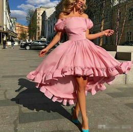 Short White Puffy Tea Dresses NZ - High Low Prom Dresses 2019 Dusty Pink Of the Shoulder Puffy Short Sleeves Tea Length Ruffle Trimming Party evening Dresses