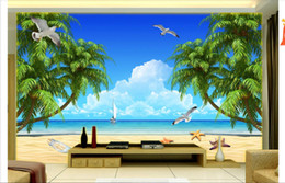 pictures for nursery walls NZ - 3D wall murals wallpaper custom picture mural wall paper HD Beach Coconut Tree Aegean Sea Scene TV Background Wallpaper for walls 3d decor