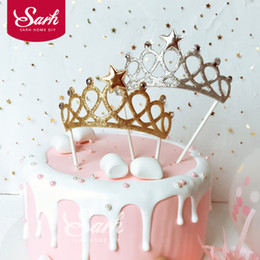 $enCountryForm.capitalKeyWord NZ - 5Pcs Bling Golden Silver Diamond Crown Stars Cake Topper for Birthday Party Decoration Dessert lovely Gifts