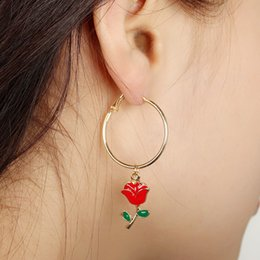 $enCountryForm.capitalKeyWord NZ - 2018 US-Euro Fashion Three-dimensional Red Rose Flower Hoop Earrings Oil Green Leaf Earrings For Women Jewelry Wedding Gift