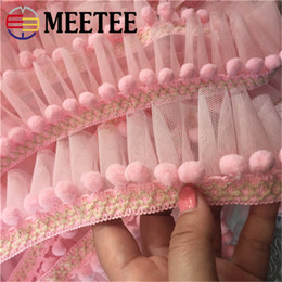3819422cac ZK757 6 Meters Pink Mini Trim pom Mesh ruffle Handmade Pompom Ball Lace  Ribbon DIY Sewing Accessories