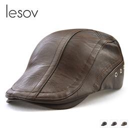 505c6763dfd Lesov Autumn Winter Boina Masculina Vintage PU Leather Men Beret Hat Mens  Baret Flat Cap Visor Sun Hat Retro Duckbill Ivy Cap