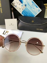 black linda NZ - Linda Farrow Round Sunglasses Gold Brown 57mm Fashion Brand Sunglasses Eye Wear New with Box