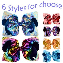 $enCountryForm.capitalKeyWord Australia - JOJO 8 Inch Children's Sequins Bow Hair Clips Mermaid Colorful PU Leather Fish Scales Headwear Baby Girl Hairpin Bowknot Barrettes H945F