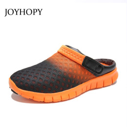 Clogs Leather Canada - 2016 Summer Unisex Air Mesh Breathable Men Sandals Man Casual Flats Clogs Shoes Lovers Beach Shoes Flip Flops Slippers