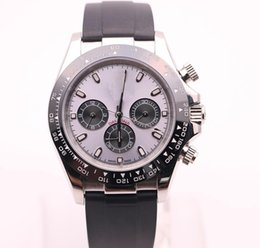 Fold machine online shopping - High quality luxury men s watch TONA series M116519 simple silver dial black rubber strap AAA automatic machine ro brand master watches