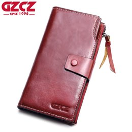 cell phone wallets purses 2019 - GZCZ Genuine Leather Slim Wallet Coin Purse Women Walet Female zipper Card Holder Long Vallet Clutch Portomonee Red clut