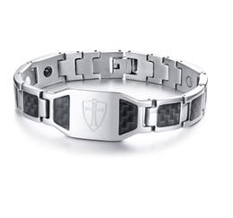 $enCountryForm.capitalKeyWord NZ - Drop shipping brand new men's stainless steel bracelet germanium carbon fiber bracelets fashion jewelry factory supplier wholesale 093s