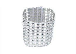 Party Napkin Holders UK - 50pcs Rhinestone Napkin Rings Wedding Banquet Napkin Holder Wrap Buckle Chair Sashes Bow Covers Hotel Party Decoration