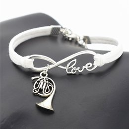 $enCountryForm.capitalKeyWord Australia - Antique Silver Infinity Love Musical Instrument French Horn Music Trumpet Pendant Charm Bracelets White Leather Suede Rope Cuff Jewelry Gift