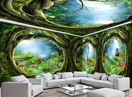 $enCountryForm.capitalKeyWord NZ - papel de parede Seamless large-scale mural 3D Custom Photo mural Wallpaper Fantasy animal world forest full house mural background wall