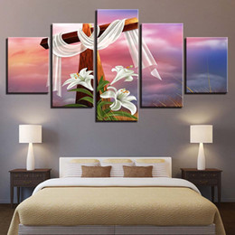 Flower Canvas Prints NZ - Canvas HD Prints Paintings Framework 5 Pieces Christ Cross And Lilies Flower Poster Living Room Decor Modular Wall Art Pictures