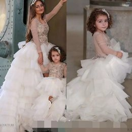 unique dresses for graduation UK - Unique High Low Ivory Little Kids Dresses for Wedding Party Jewel Neck Long Sleeve Tiered Baby Girls Pageant Gown Ruffles Toddler Prom Gowns