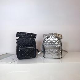 773bc0766f Kafunila 2018 famous brand designer rivet mini backpack women genuine  leather ladies silver luxury student school bag