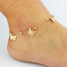 gold sandals for girls NZ - Barefoot Sandals Gold Color Rose Dragonfly Butterfly Leaf Shell Anklet Double layer Anklet For Women Girls Jewelry
