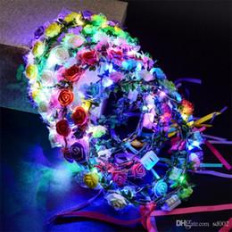 Guirnalda de flores LED para el vestido de boda Hair Garland nupcial romántica dama de honor Floral Crown Hawaii Seaside Party Decor tocado 3jt ZZ en venta