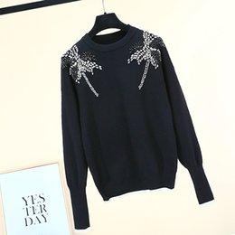 stitch bead 2019 - Brand Designer Luxury Beaded Wool Sweaters 2018 Autumn Winter Fashion Round Neck Manual Embelished Black Casual Knit Pul