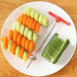 Rolo Manual de aço inoxidável e Plástico Espiral Slicer Vegetal Espiral Cortador faca Fruit Carving Ferramentas Acessórios de Cozinha venda por atacado