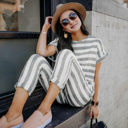 $enCountryForm.capitalKeyWord NZ - Sexy Fashion Casual Stripe Jumpsuit For Women 2018 Round Neck Short Sleeves Pockets Elegant Romper Playsuit Trousers Overalls
