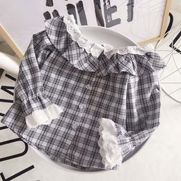 long sleeved lace shirt Canada - children's clothing Baby Girls Cute Lotus Plaid lace long-sleeved shirt fashion loose shirts good quality wholesale