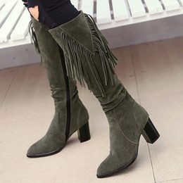 Black Blocks Canada - YMECHIC 2018 Winter Knee High Fringe Flock Knight Ridding Boots Female Block High Heels Pointed Toe Plus Size Womens Shoes Black