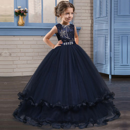 Discount elegant princess gowns for kids - Kids Fancy Girl Flower Petals Dress Children Bridesmaid Outfits Elegant Dress for Girl Vestido Party Prom Gown Princess