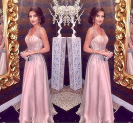 Discount fashion girl model dress - Blush Pink Evening Dresses 2018 A Line Spaghetti V Neck Major Beading Long Chiffon Prom Party Red Carpet Girls Pageant G