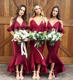 Discount silk ivory spaghetti strap wedding dress - Burgundy High Low Bridesmaid Dresses Spaghetti Straps 2018 Sexy Mermaid Evening Gown Beach Garden Maid of Honor Gown Wed