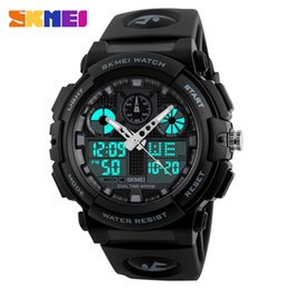dual time watches men UK - SKMEI Men's Watches Men Black Dual times LED Display Digital Quartz Wrist Watch Mens Sport Watches Men Waterproof Military Relogio Masculino