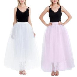 d267ad23a6 10 Colors Tulle Skirts Women 2018 Summer Casual High Waist Long Tulle Mesh  Skirt Elastic Waist Pleated Fluffy Tutu Maxi Skirt