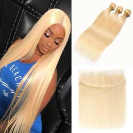 Cheap 13 Inch Australia - 10-24 Inch Cheap 613 Blonde Bundles with Frontal Straight Peruvian Human Hair Weave 3 Bundles with 13*4 Lace Frontal Blonde Hair Extension