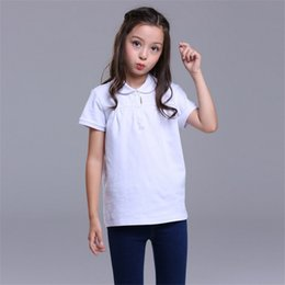 England Plaid Canada - Hot Sale Top Quality Girls Children Kids Summer Fashion England Style Pure Cotton Pure Color Short Sleeved T-Shirts Plaid Polo Girl Children