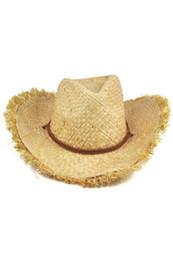 b6612f415a Moda Gorra Unisex Feathered Edge Natural Straw Vaquero Sombrero para el sol para  mujer de hombre Caliente