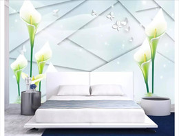 $enCountryForm.capitalKeyWord Australia - Wholesale-Customized photo wall mural wallpaper Lily flower reflection 3d background wall painting wallpaper for walls 3d home decor