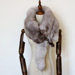 $enCountryForm.capitalKeyWord NZ - Men Real Fur Fox Scarf Collar Woman Winter Warm White Luxury Natural Gray Silver Fox Scarf Genuine Wedding Fur Shawl Accessorie