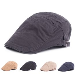 Newsboy Flat Cap Canada - Adjustable Cotton Flat Cap Men Women Vintage  Classic Newsboy Hat Blank 2546a9b5c92