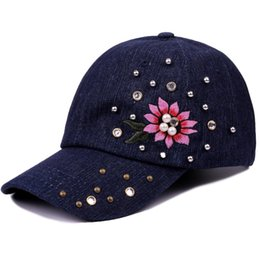 Brand Baseball Cap Women Girls Snapback Caps Hats For Women Pearl Diamond  Fashion Casquette Bone Gorras Flower Lady New Sun Hat fc395c6440f8
