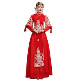 traditional chinese clothing woman UK - Shanghai Story 2018 XiuHe take bridal gown clothes Chinese red dress Traditional Chinese Clothing For Women