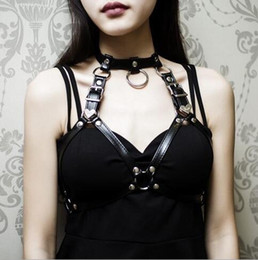 $enCountryForm.capitalKeyWord Canada - Sexy Women Belts Punk Rock Halterneck Choker Gothic Leather Harness Body Bondage Cage Bustier Corset Sculpting Chest Waist Belt