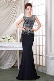 blue apple jewelry NZ - Custom Made 2020 New Navy Blue Prom Dresses Fishtail Long Beaded Jewelry Elegant Sexy Sequin Evening Dresses HY1187