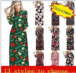 d714c1657ed4 Women Maxi Dresses Christmas cartoon printed Dress Round Neck Long Sleeve Skirt  Lady Festival Party-dress Casual Long flower girl Dresses