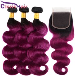 cheap ombre purple hair weave 2019 - Colored 1B Purple Brazilian Virgin Human Hair 3 Bundles With Lace Closures Cheap Body Wave Ombre Weaves Closure Two Tone