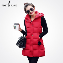 Discount womens hooded winter vest - Pinky Is Black Women Winter Vest Waistcoat Womens Long Vest Sleeveless Jacket Hooded Down Cotton Warm Female