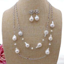 "Long Pearl Chain Set NZ - S101905 48"" White Keshi Pearl Chain Long Necklace Earrings Set"
