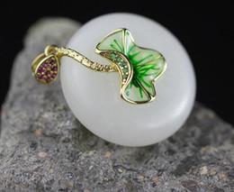 $enCountryForm.capitalKeyWord NZ - Natural White Jade Necklace Pendant Enamel Burn Blue Lotus Leaves Fine Genuine 925 Sterling Silver Jewelry SP61